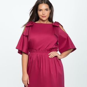 ELOQUII | Bowtie cold shoulder dress | 16